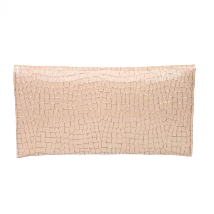 Plic de ocazie bej/nude din piele croco lac [2]