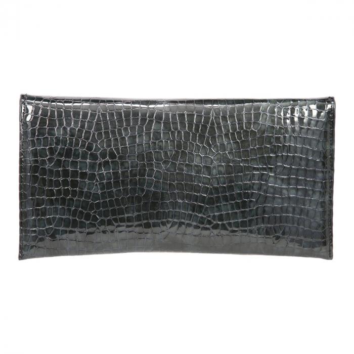 Plic de ocazie din piele croco lac in degrade verde petrol/negru [2]
