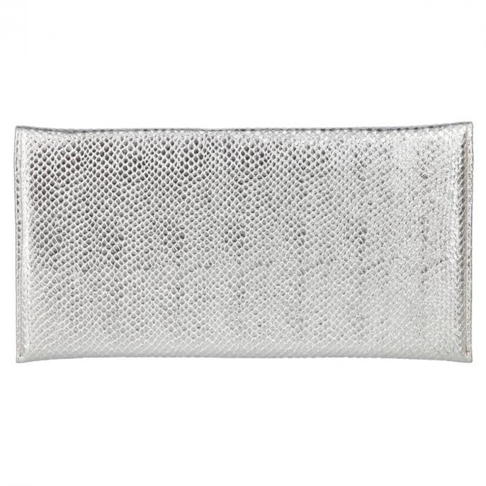 Plic de ocazie din piele naturala argintie cu aspect de solzi [2]