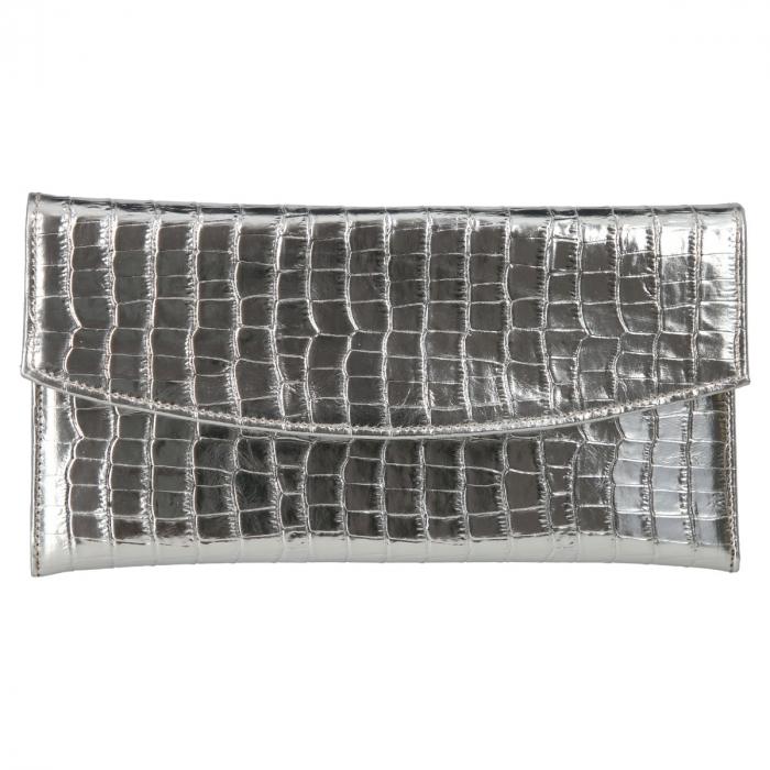 Plic de ocazie din piele naturala croco argintiu [1]