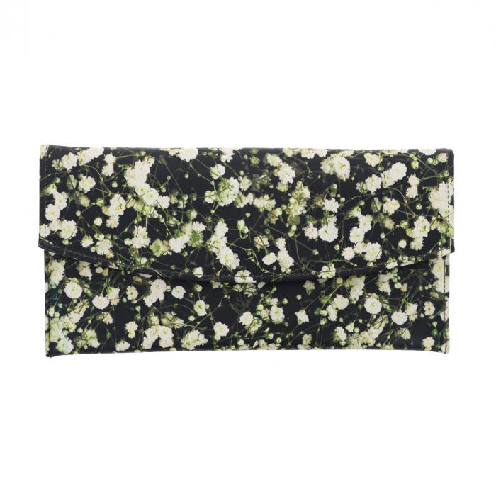 Plic de ocazie din piele naturala neagra cu imprimeu floral multicolor [1]