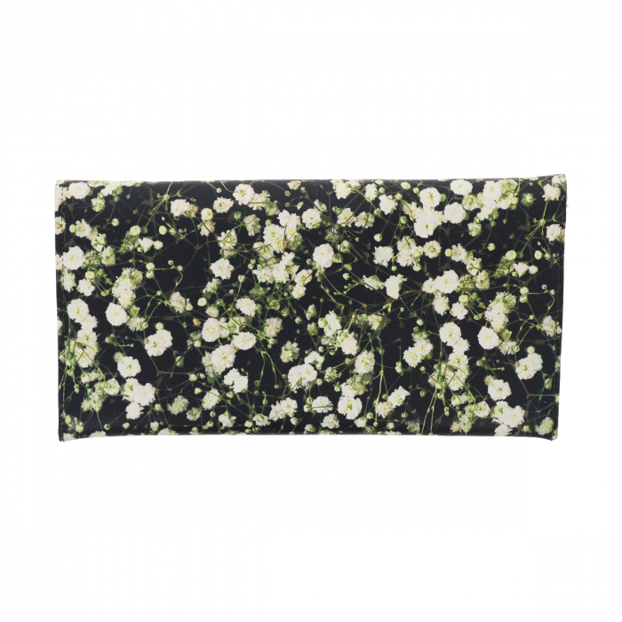 Plic de ocazie din piele naturala neagra cu imprimeu floral multicolor [2]