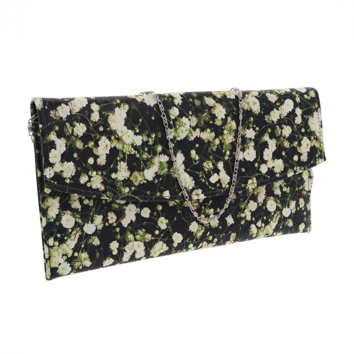 Plic de ocazie din piele naturala neagra cu imprimeu floral multicolor [0]