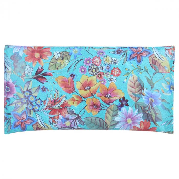 Plic de ocazie din piele naturala turcoaz cu imprimeu floral [2]