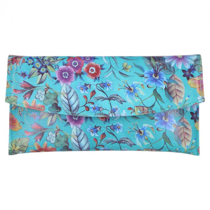 Plic de ocazie din piele naturala turcoaz cu imprimeu floral [1]