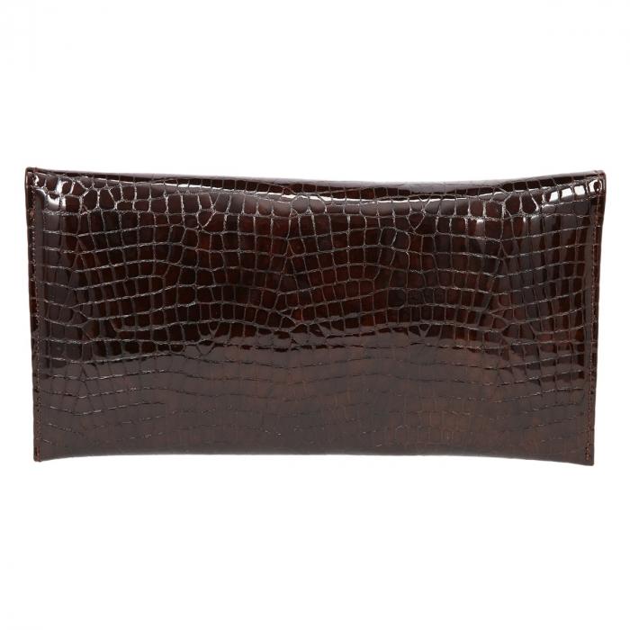 Plic de ocazie maro din piele croco lac [2]