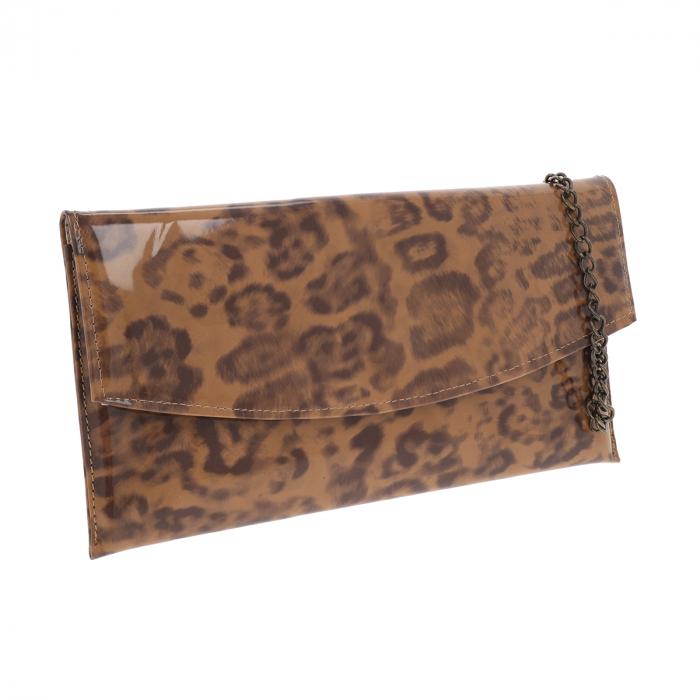 Plic de ocazie maro leopard din piele lacuita [0]