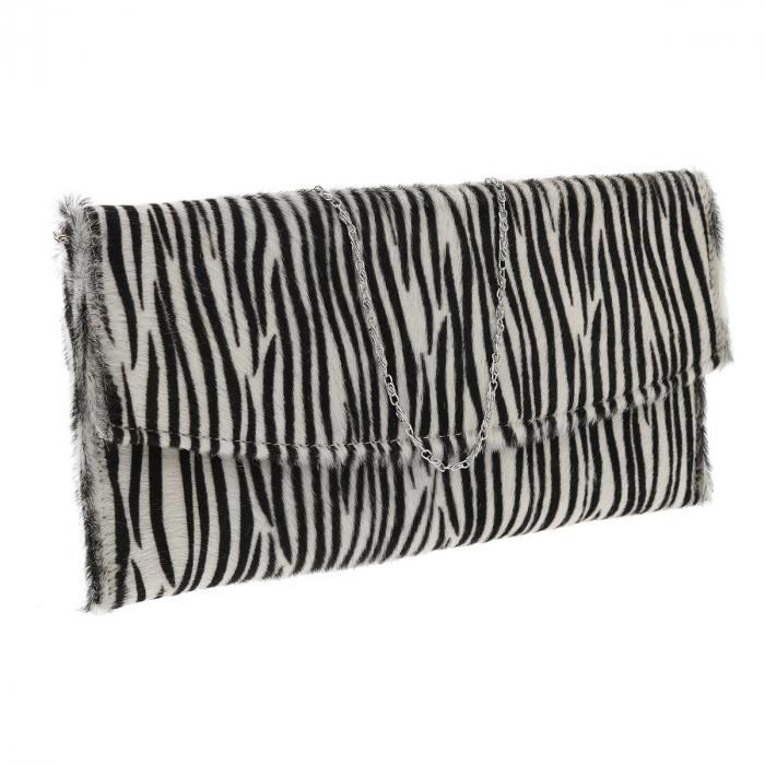 Plic de ocazie model zebra din piele naturala cu par [0]