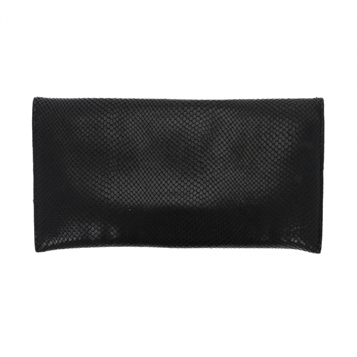 Plic de ocazie negru din piele naturala cu aspect de solzi [2]