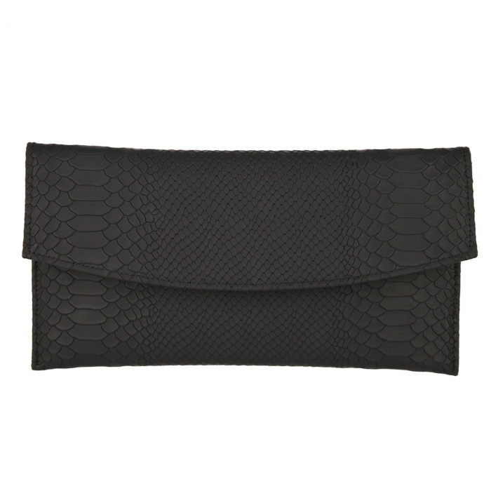 Plic de ocazie negru mat din piele naturala tip piton [1]