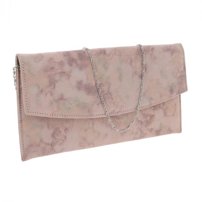 Plic de ocazie roz pudra din piele intoarsa, tip abstract [0]
