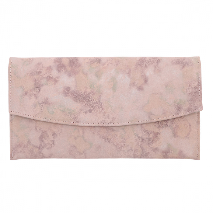 Plic de ocazie roz pudra din piele intoarsa, tip abstract [1]