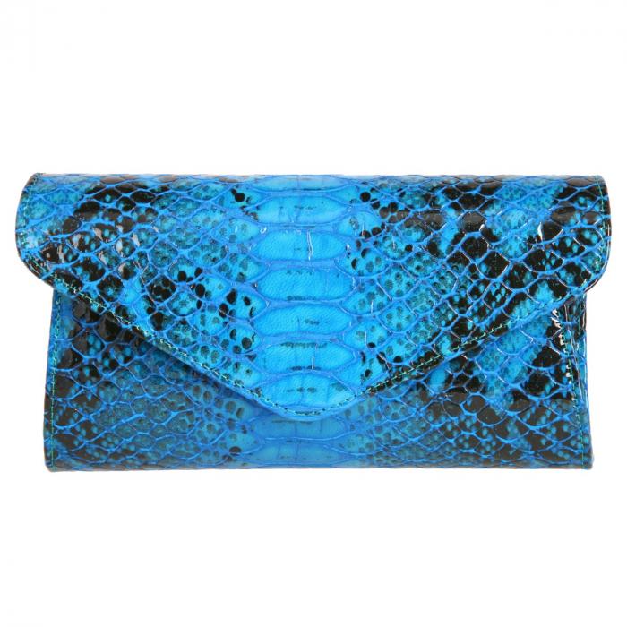 Plic elegant albastru piton din piele lacuita croco, model 08 [1]