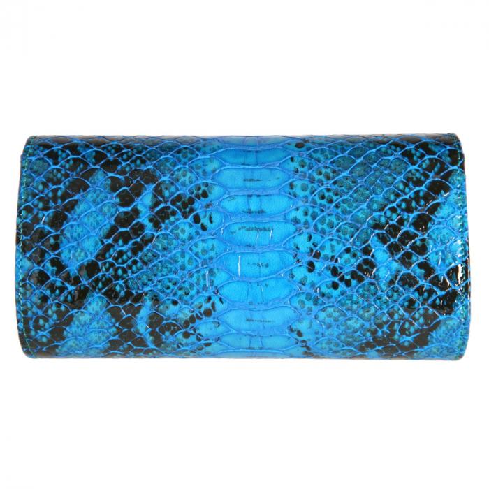 Plic elegant albastru piton din piele lacuita croco, model 08 [2]