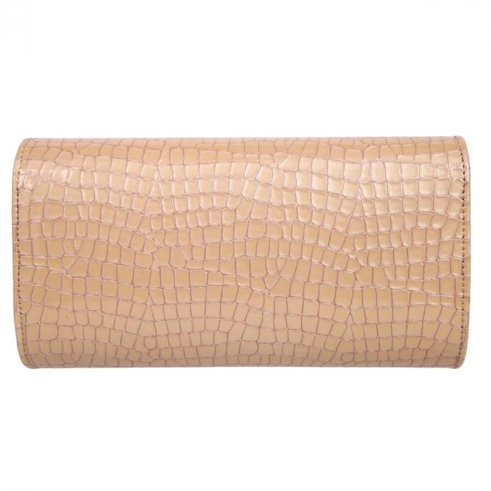Plic elegant bej/nude din piele lacuita croco, model 08 [2]