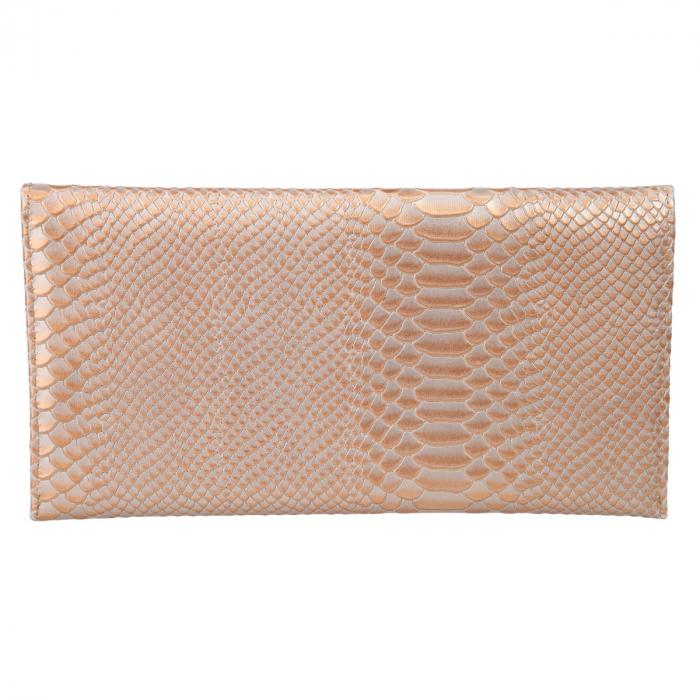 Plic elegant caramel deschis din piele cu aspect piton [2]