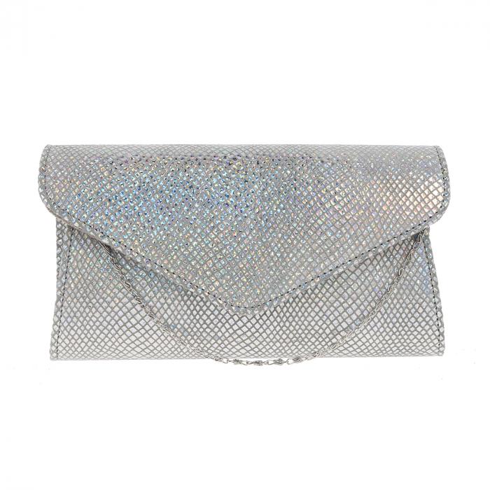 Plic elegant din piele naturala argintiu cameleon, model 08 [1]
