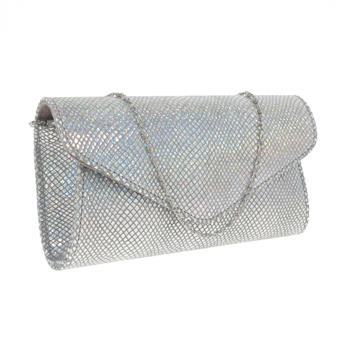 Plic elegant din piele naturala argintiu cameleon, model 08 [0]