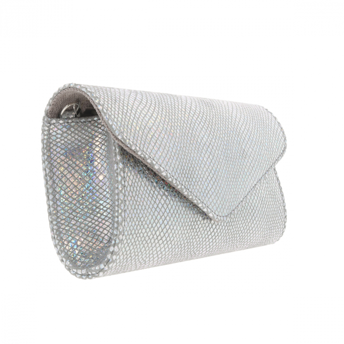 Plic elegant din piele naturala argintiu cameleon, model 08 [3]