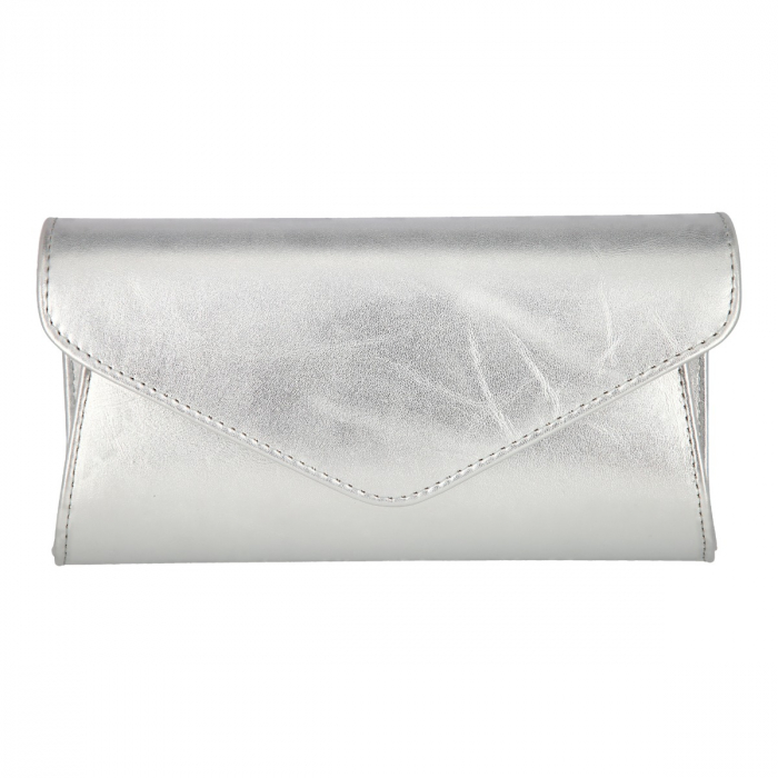Plic elegant din piele naturala argintiu fin, model 08 [1]