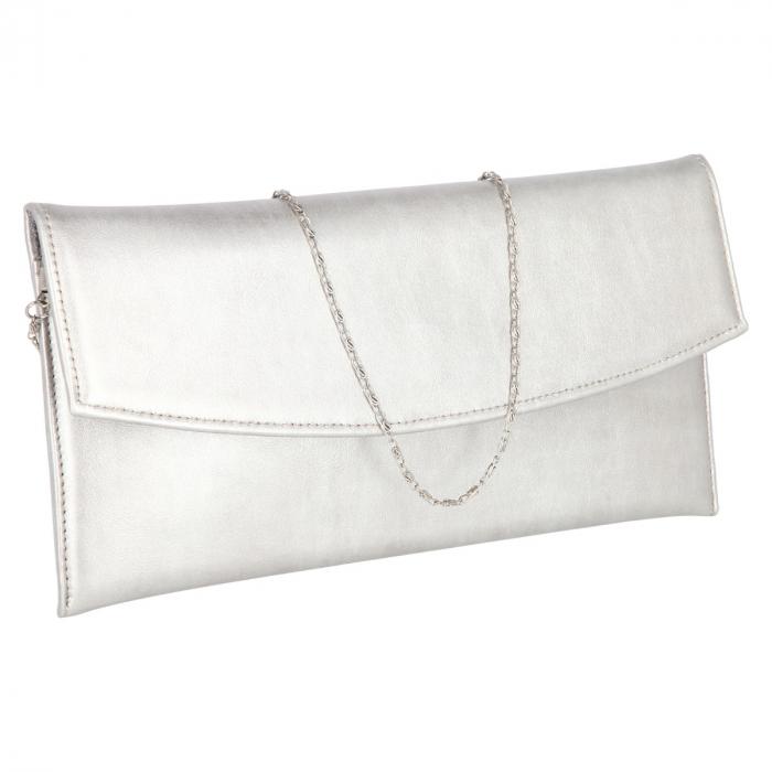 Plic elegant din piele naturala argintiu stins [0]