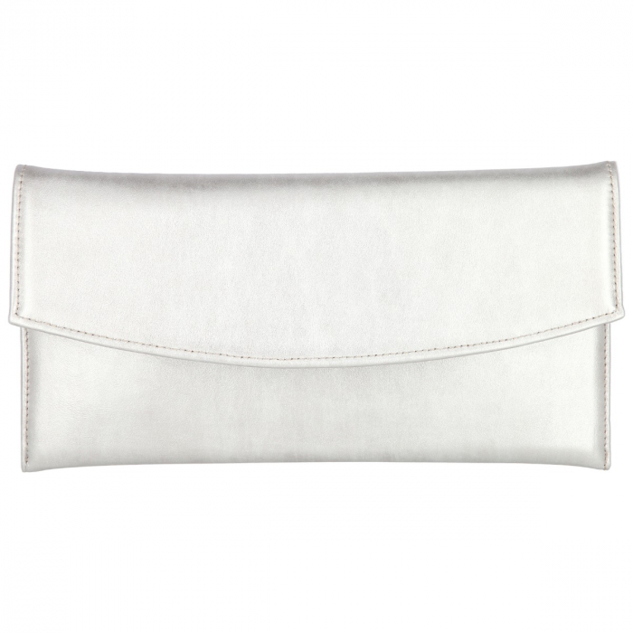 Plic elegant din piele naturala argintiu stins [1]