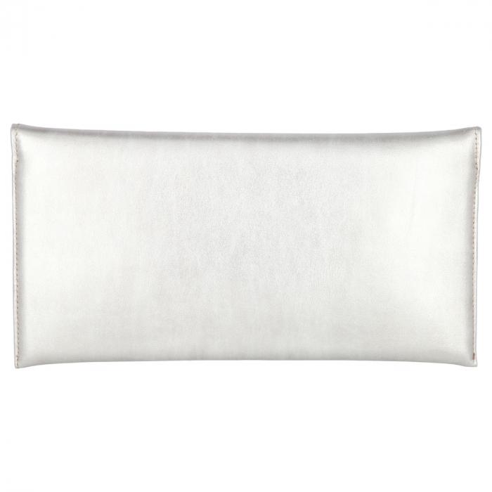 Plic elegant din piele naturala argintiu stins [2]