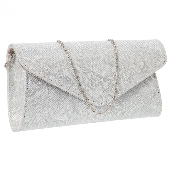 Plic elegant din piele naturala argintiu texturat, model 08 [0]