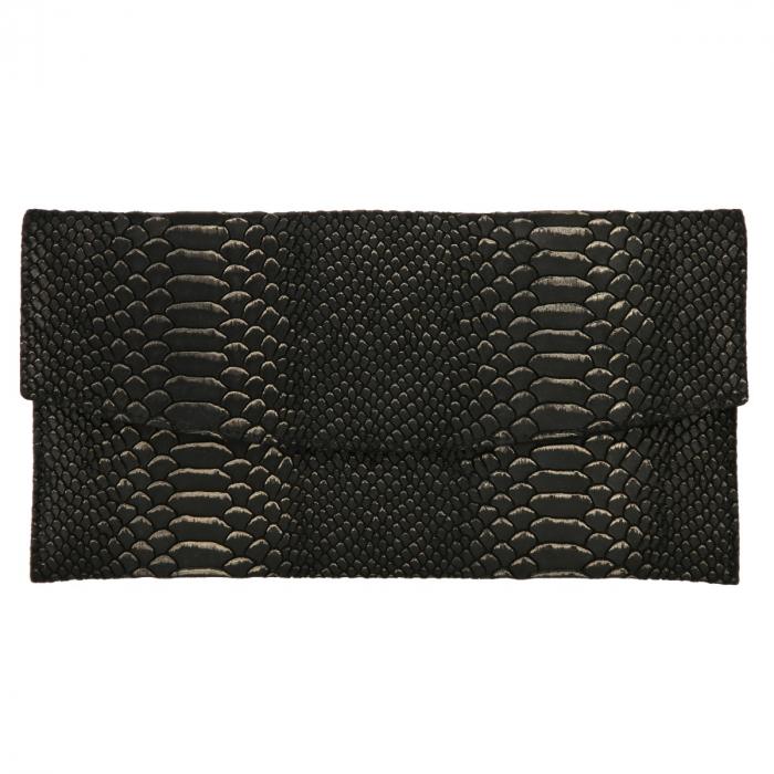Plic elegant negru din piele naturala cu detalii aurii [1]