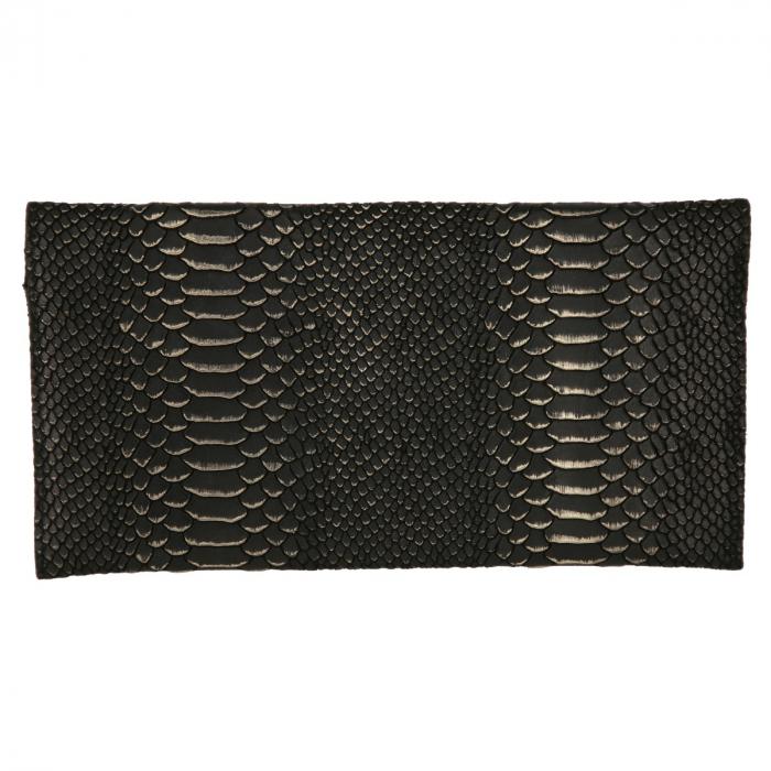Plic elegant negru din piele naturala cu detalii aurii [2]