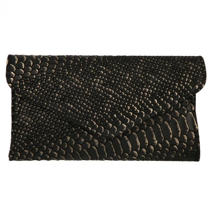 Plic elegant negru din piele naturala cu detalii aurii, model 08 [1]