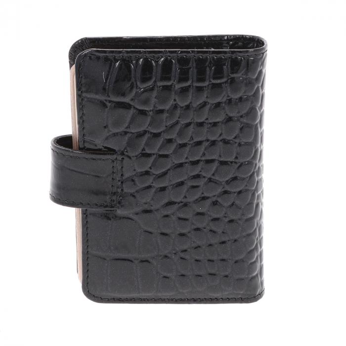 Port carduri din piele croco lac negru, model 1518 [1]