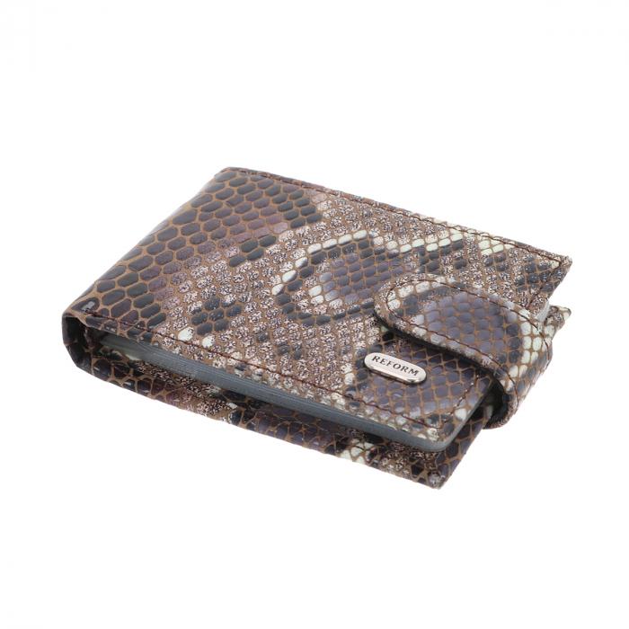 Port carduri din piele naturala, maro cu bej imprimeu piton, model 114 [0]