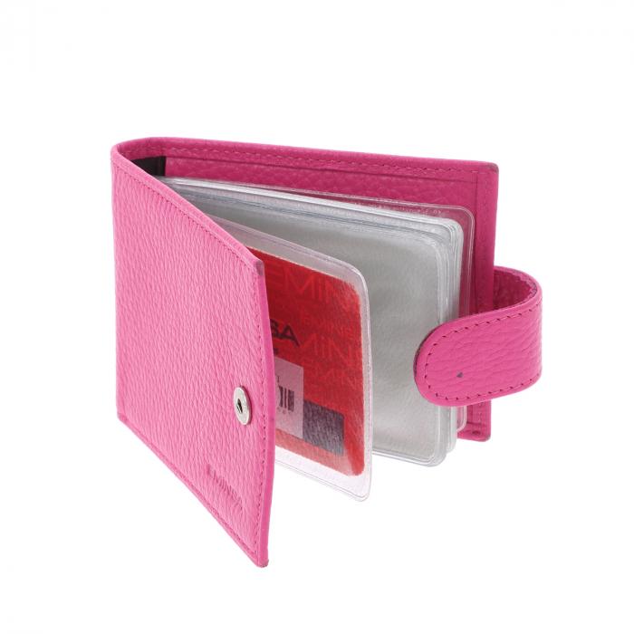 Port carduri din piele naturala roz, model 1517 [3]