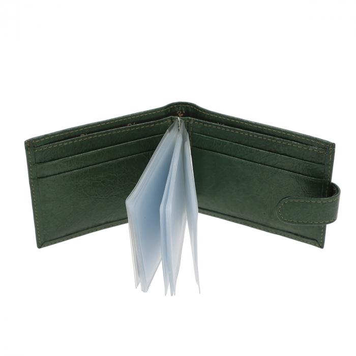 Port carduri din piele naturala, verde metalizat, model 114 [1]