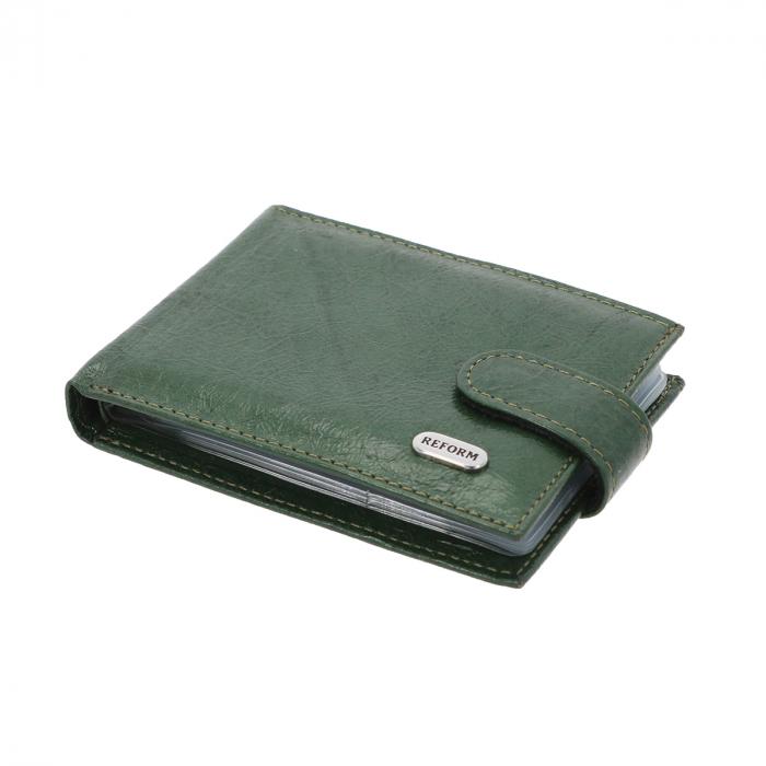 Port carduri din piele naturala, verde metalizat, model 114 [0]