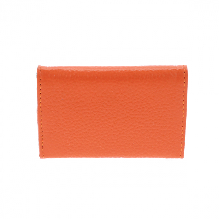 Port Carti de Vizita din piele naturala portocalie cu capac, model 1583 [4]