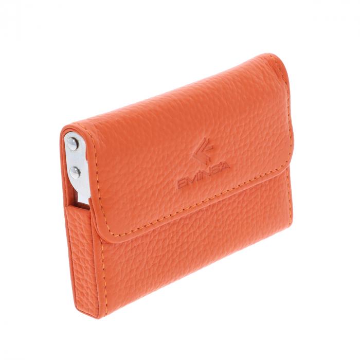 Port Carti de Vizita din piele naturala portocalie cu capac, model 1583 [0]