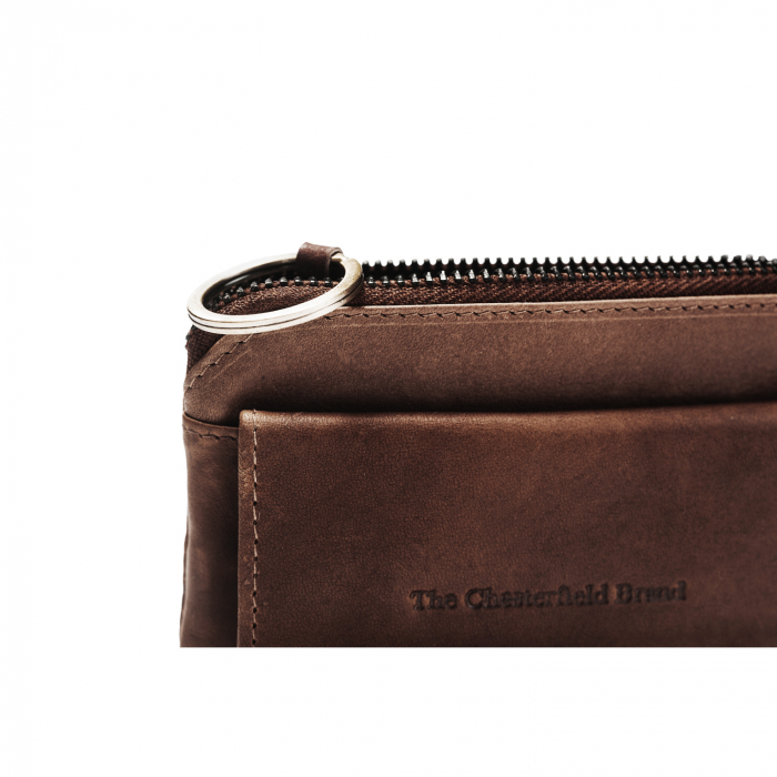 Port chei din piele naturala, The Chesterfield Brand, cu protectie anti scanare RFID, Oliver, Maro inchis [3]