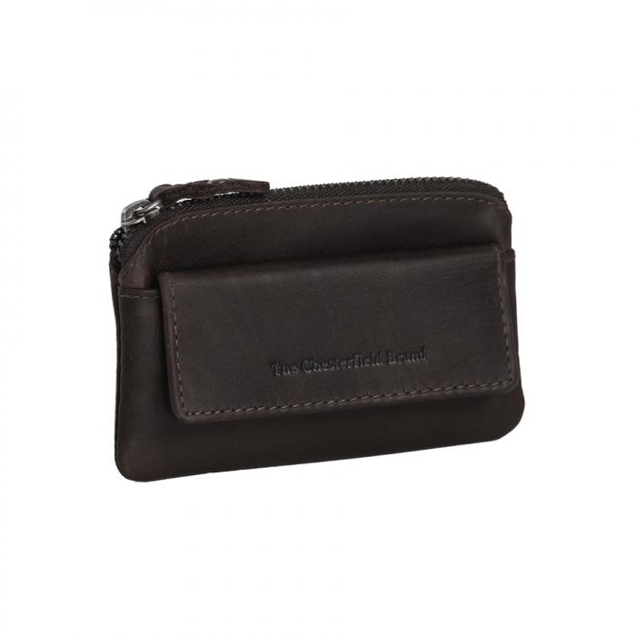 Port chei din piele naturala, The Chesterfield Brand, cu protectie anti scanare RFID, Oliver, Maro inchis [0]