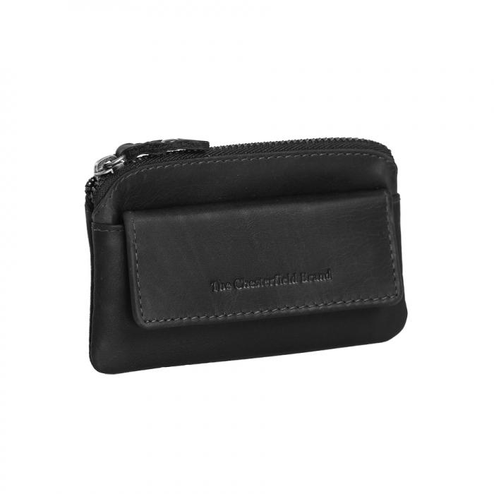 Port chei din piele naturala, The Chesterfield Brand, Oliver, cu protectie anti scanare RFID, Negru [0]