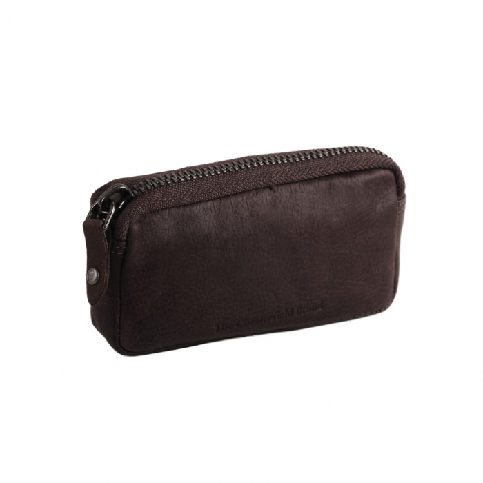 Port chei The Chesterfield Brand, cu protectie anti scanare RFID, din piele moale, Corey, Maro inchis [0]