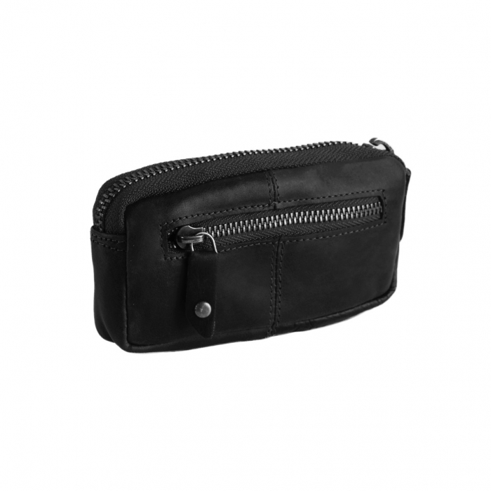 Port chei The Chesterfield Brand, cu protectie anti scanare RFID, din piele moale neagra, Corey 1