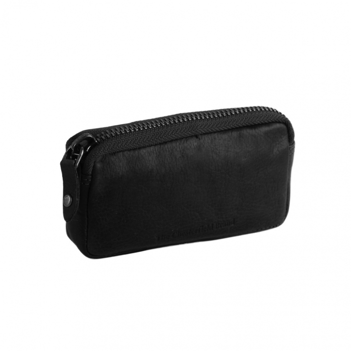 Port chei The Chesterfield Brand, cu protectie anti scanare RFID, din piele moale neagra, Corey 0