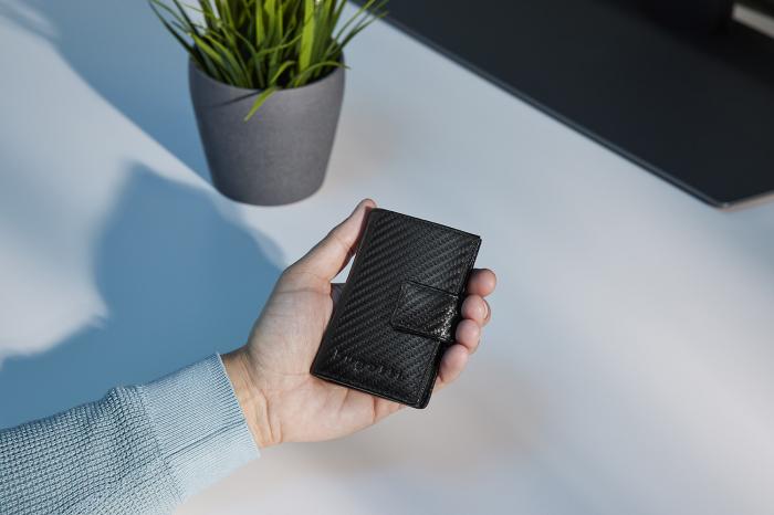 Portcarduri securizat, din piele naturala, cu protectie RFID, Bugatti, Secure Smart Deluxe, Negru carbon [1]