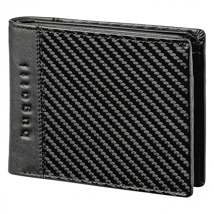 Portofel barbati Bugatti, cu protectie anti scanare RFID, piele naturala neagra, model Comet S [0]