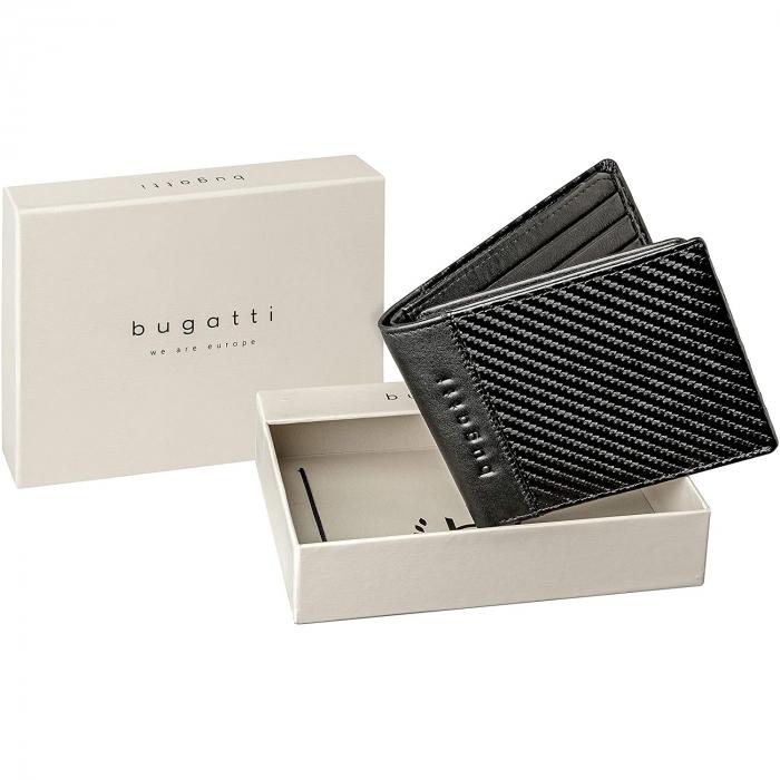 Portofel barbati Bugatti, cu protectie anti scanare RFID, piele naturala neagra, model Comet S [4]