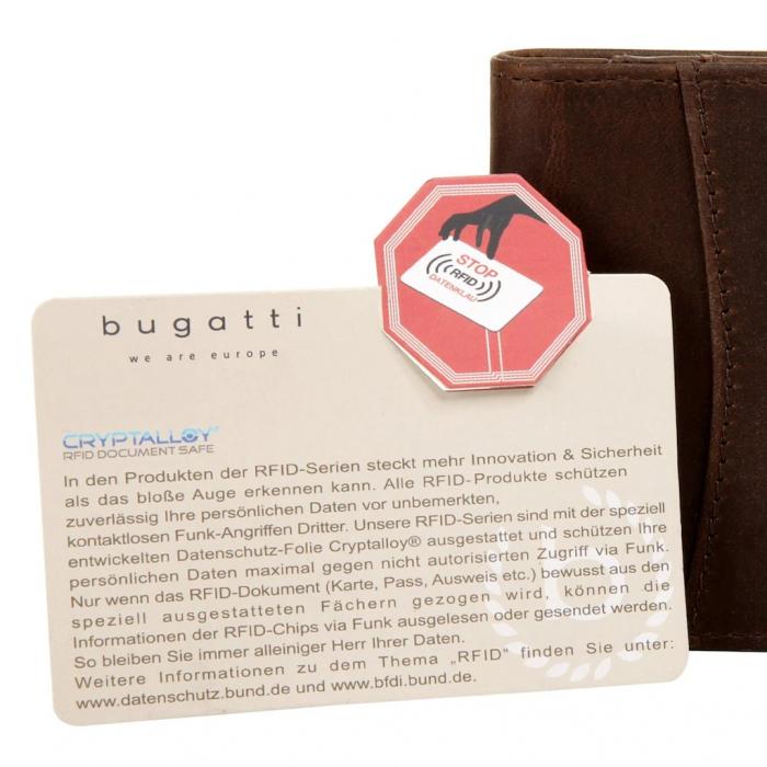 Portofel barbati din piele naturala, Bugatti, Romano, cu protectie anti scanare RFID, Maro inchis [4]