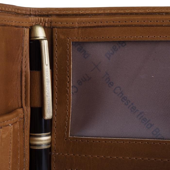 Portofel barbati din piele naturala, The Chesterfield Brand, Drake, cu protectie anti scanare RFID, Maro coniac [3]