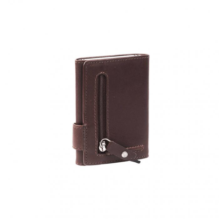 Portofel unisex cu suport pentru carduri, din piele naturala, The Chesterfield Brand, Leicester, cu protectie anti scanare RFID, Maro inchis [1]